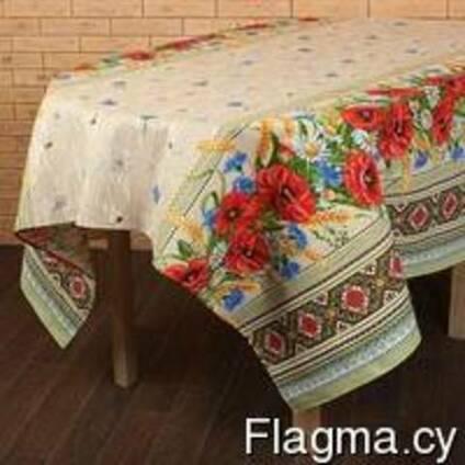 Скатерти, полотенца в украинском стиле, лён- рогожка
